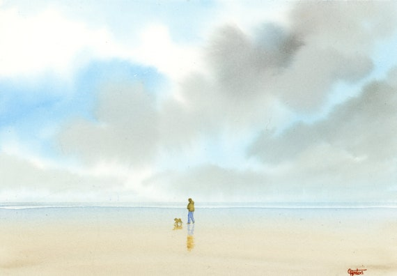 Original small A5 watercolour beach painting, figure and dog walking on beach, watercolor art gift direct from the artist UK