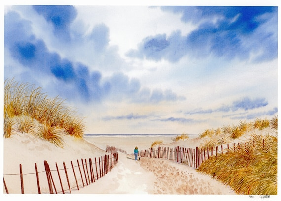 New for 2021  'Down To Formby Beach', hand finished very limited edition print on watercolour paper, hand painted figure and dog on beach