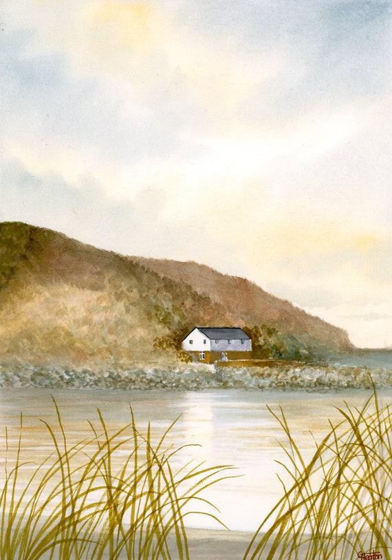 Original A4 watercolour painting Porthdinllaen, Llŷn Peninsula, Wales. Watercolor art direct from UK artist