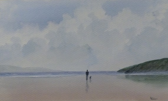 """Original watercolour painting, 'Long Walks and Wet Paws' figure and dog on beach, 280mm x 170mm (11"""" x 6.75"""") watercolor unique gift"""