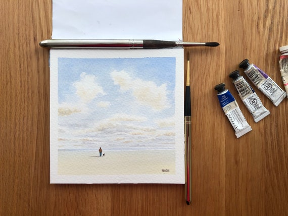 Square small original watercolour beach painting,  figure and dog on beach,  affordable hand painted delicate watercolor gift, England UK