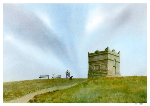 Rivington Pike, Hand finished and personalised very limited edition print on watercolour paper, choice of hand painted figures, unique art
