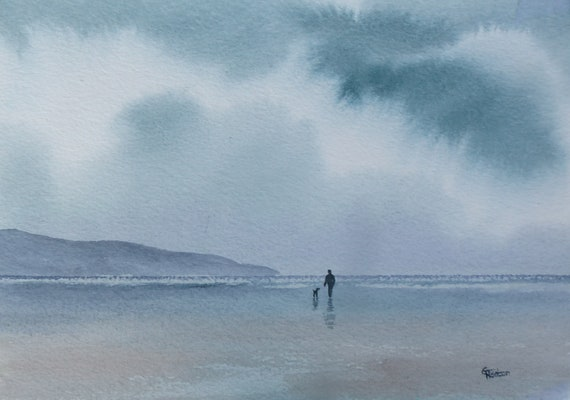 Original small watercolour beach painting, 'My Loyal Friend'  affordable and original art, figure and dog on stormy beach, unique gift