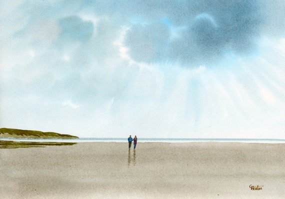 Original watercolour painting, 'Silver Lining' couple on beach A4 size watercolor, original romantic art gift direct from the artist in UK