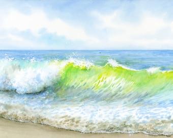 Original ocean wave watercolour seascape painting, 40cm x 30cm coastal beach art,  aqua blue seashore artwork from UK artist