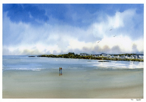 Treardurr Bay, hand finished very limited edition print on watercolour paper,  hand painted figures on Anglesey beach, Holyhead, Wales
