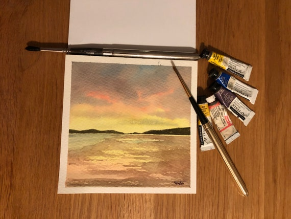 Newborough Beach, Anglesey. Square small original watercolour sunset beach painting,  affordable hand painted delicate watercolor gift,  UK