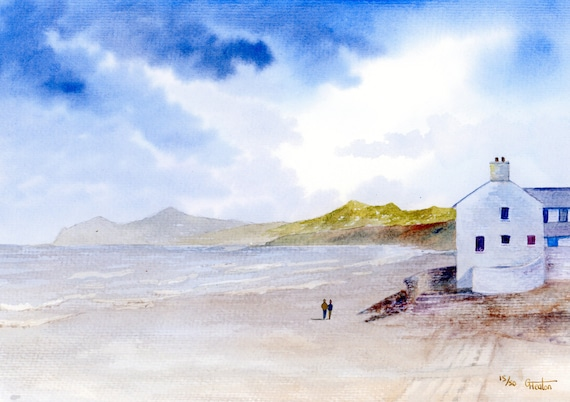 Morfa Nefyn Beach, Hand finished and personalised very limited edition print on watercolour paper, couple on beach unique art gift