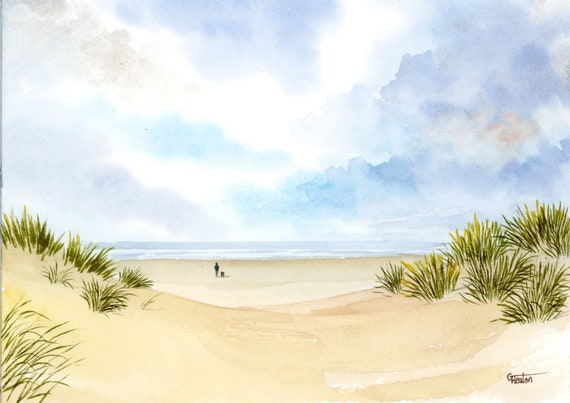 Original small watercolour beach painting, 'A Walk On Ainsdale Beach' distant figure and dog through Southport Sand dunes, Merseyside. Art