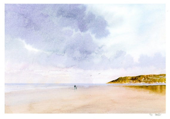 Llanddona Rain, Hand finished and very limited edition print on watercolour paper, figure and dog Red Wharf Bay Anglesey Beach Wales, art