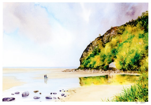 New for 2021 Llanbedrog Beach, Hand finished very limited edition print on watercolour paper, hand painted art gift, couple and dog on beach