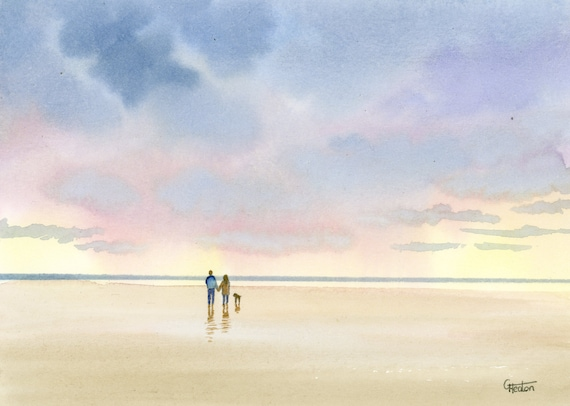 Original small watercolour beach painting,  original romantic art, couple and dog on beach, unique gift for Valentine's Day or anniversary