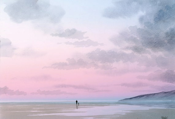 Original A4 size watercolour painting, 'Morning Skies' distant figure and dog on beach,  art direct from the artist in UK, shades of pink