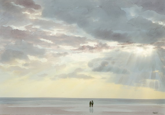 Original watercolour painting, 'Love Light'  romantic couple on beach A4 size watercolor, original art direct from the artist in UK,