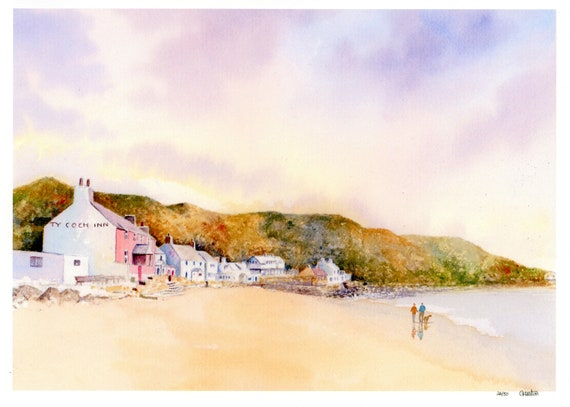Ty Coch, Porthdinllaen, Hand finished very limited edition print on watercolour paper, couple and dog on Morfa Nefyn beach, art from UK