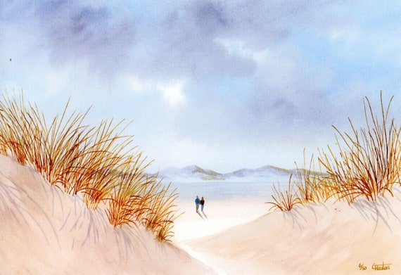 Newborough Beach, 'Through The Sand Dunes' Hand finished and personalised very limited edition print on watercolour paper, couple on beach