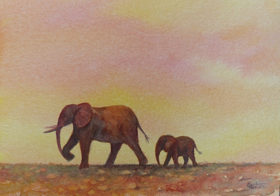 Original small watercolour painting, 'Follow Me,  A5 size affordable and original art, unique watercolor sunset African elephants study