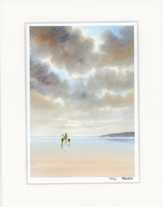 "Hand finished 'Perfect Storm' Mounted 9"" x 7"" Limited Edition print on watercolour paper. Couple and dog on beach from a watercolor painting"