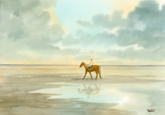 Original watercolour painting, 'Morning Ride' horse on beach A4 size watercolor, original pony art gift direct from the artist in England UK