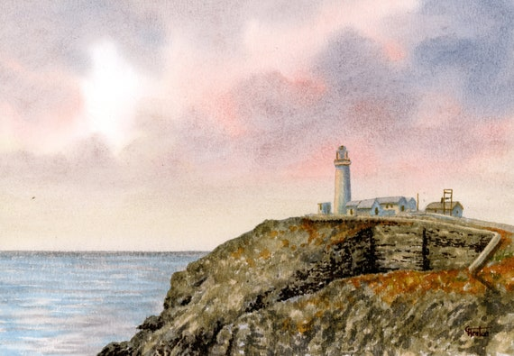 Original small watercolour painting, South Stack Lighthouse, Anglesey, Wales. Original watercolor art, direct from UK artist. Free P&P in UK