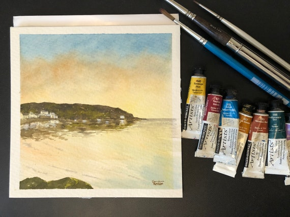Porthdinllaen, Wales. Square small original watercolour sunset beach painting,  hand painted watercolor art gift. Direct from the artist UK