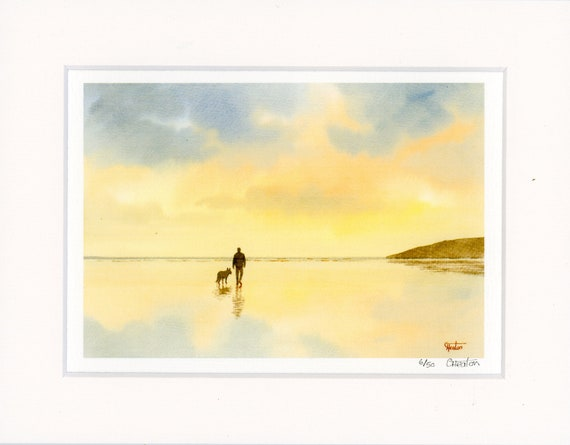 "Mounted 9"" x 7"" Limited Edition Print on watercolour paper, man and German Shepherd dog on beach from an original watercolour painting UK"