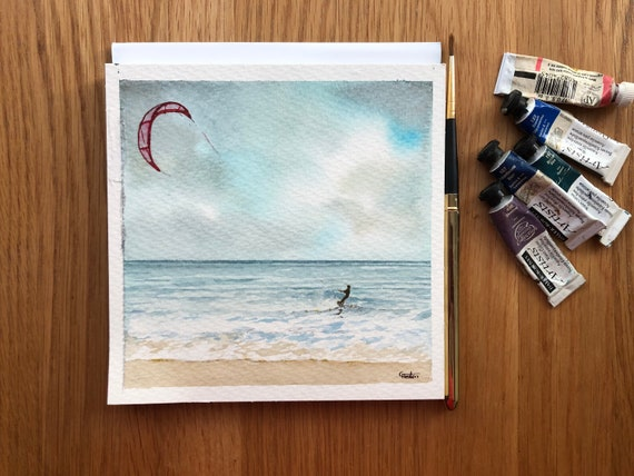 Kite Surfer,  Square small original watercolour stormy beach painting, affordable hand painted art watercolor gift, direct from artist in UK