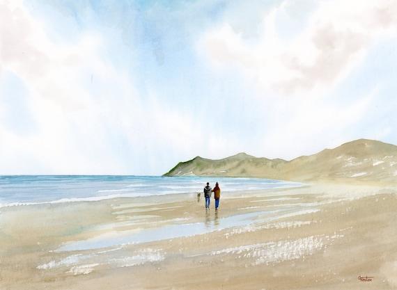 Couple and dog on Nefyn Beach original watercolour beach painting, 40cm x 30cm coastal beach art, Llyn Peninsula, artwork from UK artist