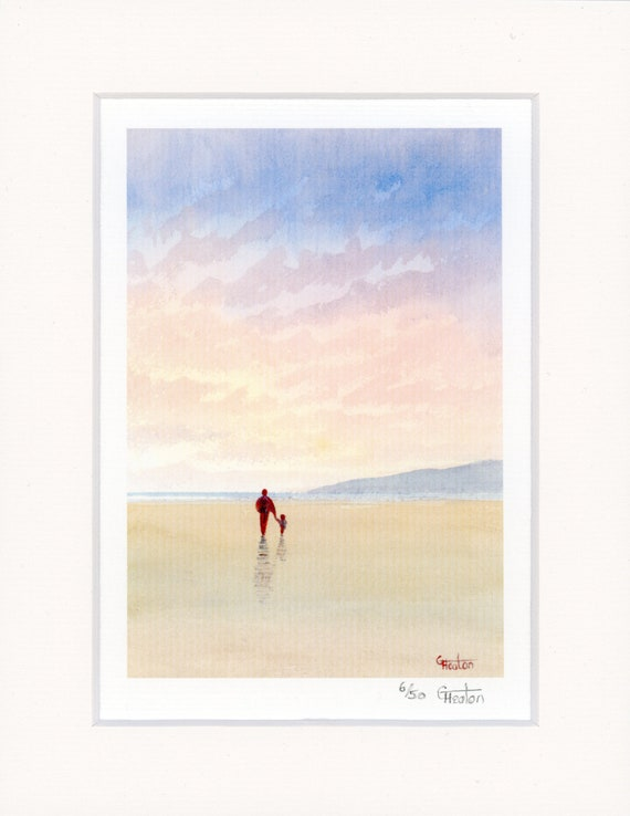 "Mounted 9"" x 7"" Limited Edition Print on watercolour paper, 'A Father's Love' man and child on sunset beach from a watercolor painting.  Dad"