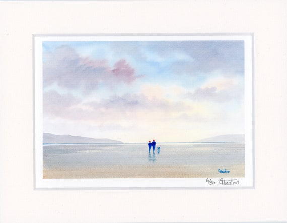 "Mounted 9"" x 7"" Limited Edition Print on watercolour paper, couple and dog on beach. Only 50 available worldwide from an original painting"