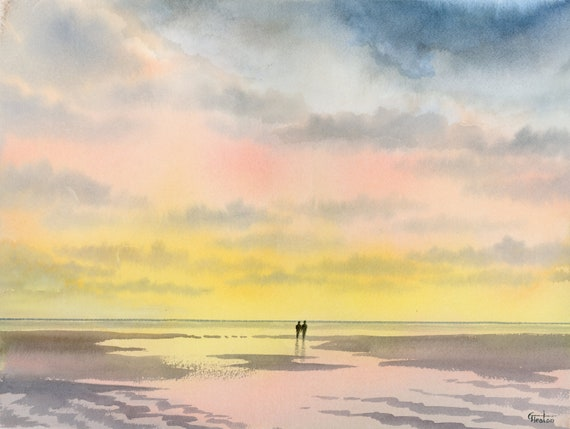 "Original 16"" x 12"" watercolour painting,  'From A Distance' Couple on sunset beach,  romantic watercolor, art gift, 100% cotton paper A3"