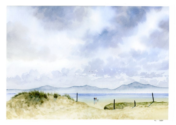 A3 size Newborough Beach, Anglesey, hand finished very limited edition print on watercolour paper,  hand painted figures and dog, Wales