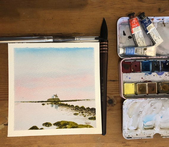 Porth Cwyfan, Anglesey.  Square small original watercolour painting, St. Cwyfan church, lovely gift direct from the artist in UK