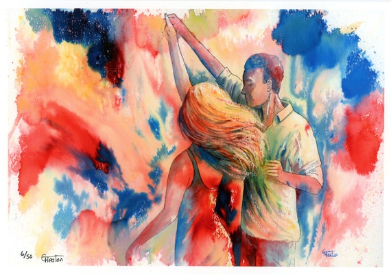 Limited edition just 50 worldwide fine art A4 print from an original watercolour 'Just One More Dance'  signed and numbered, Salsa, swing