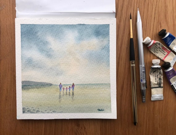 Family of 5 on beach, square small original watercolour beach painting, affordable hand painted watercolor gift with 3 children, unique art
