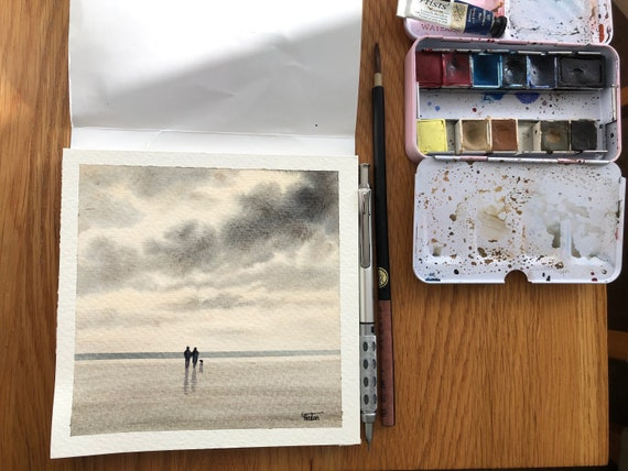 Square small original watercolour beach painting,  couple and dog in monochrome neutral tones  affordable hand painted watercolor gift,  UK
