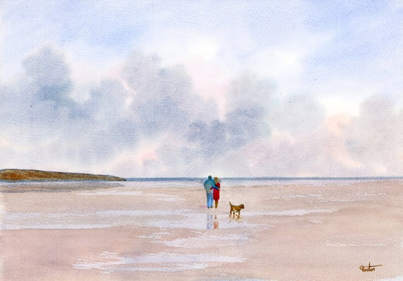 Original watercolour painting, couple and dog on beach, A4 size watercolor, original art gift direct from the artist in England UK, Cockapoo