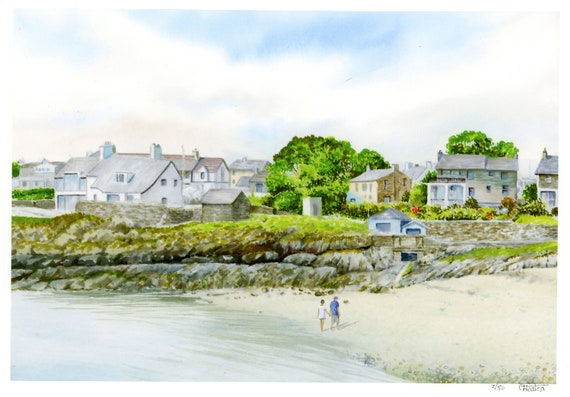 Moelfre, Anglesey, Hand finished and personalised in watercolour, very limited edition print, choice of hand painted figures, unique art