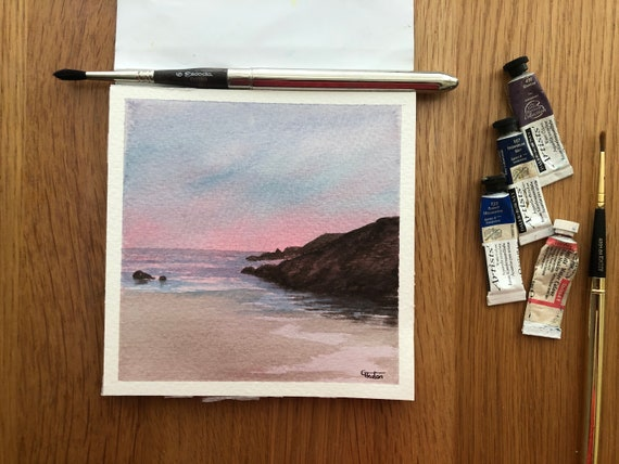 Porth Dafarch, Anglesey. Square small original watercolour twilight beach painting,  affordable hand painted delicate watercolor gift,  UK