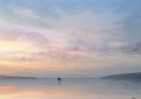 A3 size original watercolour painting 'At The End Of The Day',  couple and dog on sunsetbeach, unique watercolor art direct from UK artist