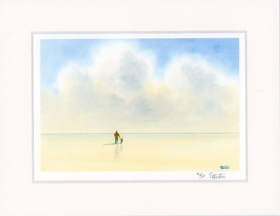 "Mounted 9"" x 7"" Limited Edition Print on watercolour paper, 'A Walk With Daddy' man and child on beach. Only 50 in total worldwide, signed"