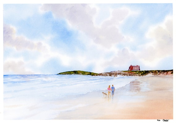 New for 2021 Couple and Springer Spaniel dog on Fistral Beach, Hand finished very limited edition print on watercolour paper, Newquay art