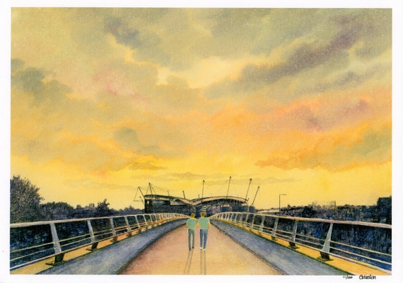 Etihad Stadium, Hand finished limited edition print on watercolour paper,  hand painted figures, Manchester at Sunset. Gift for Man City fan