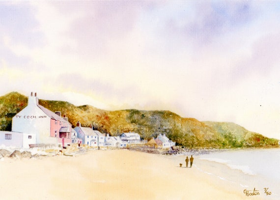 Ty Coch, Porthdinllaen, Hand finished very limited edition print on watercolour paper, couple and dog, Morfa Nefyn beach, Ty Coch Inn art