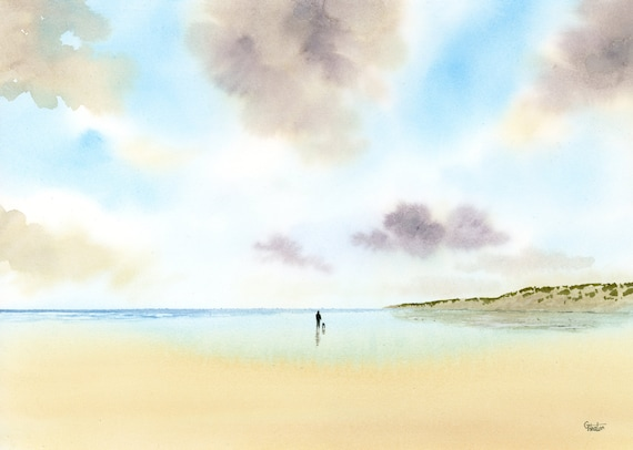 Original watercolour painting 'Social Distancing', figure and dog on beach, A4 size watercolor art direct from the artist in England, UK.