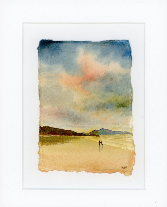 Original mounted deckled edged watercolour beach painting  Aberffraw beach, Anglesey on handmade paper, couple and dog on beach. Art gift UK