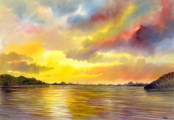 Anglezarke Sunset Original watercolour painting,  297 x 420 mm  A3 size, Rivington Horwich, West Pennines, Lancashire Landscape watercolor