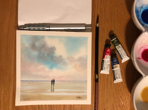 Square small original watercolour beach painting,  couple on beach, affordable hand painted delicate romantic watercolor art gift  UK