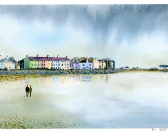 Beaumaris, hand finished very limited edition print on watercolour paper, 'West End Rain' hand painted figures on beach, Anglesey, Wales