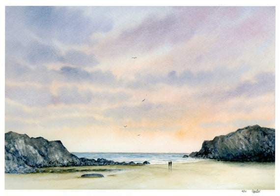 Porth Dafarch, hand finished very limited edition print on watercolour paper,  hand painted figures on Anglesey beach, Wales